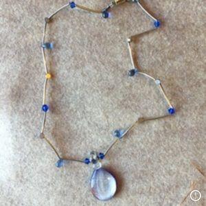 Vintage sterling Venetian glass necklace